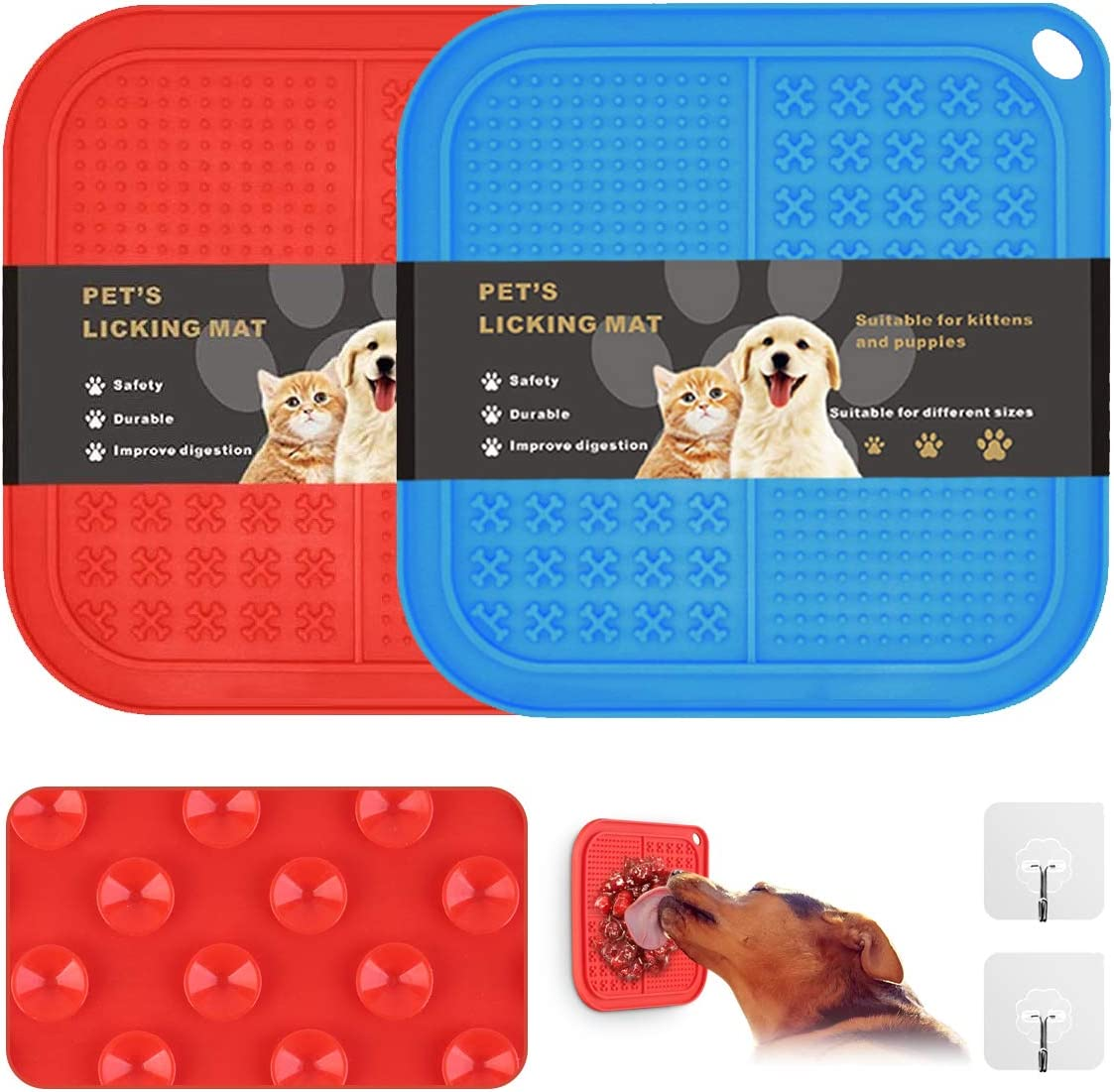 OTIME 2 Pack Dog Lick Mat with Suction Cups Dog Slow Feeder Dog Licking Mat Pet Mat Anxiety Relief Dog Cat Lick Training Licking Mat for Food, Yogurt, Peanut Butter(Blue and Red)
