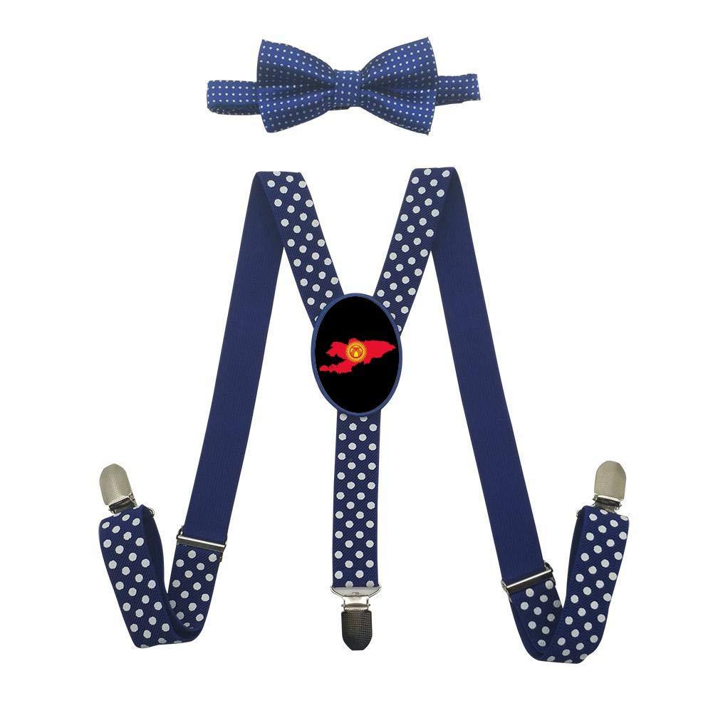 Eyuio Kyrgyzstan Map Custom Unisex Suspender With Bow Tie Set Adjustable Elastic Y-Back Necktie Child Bowtie