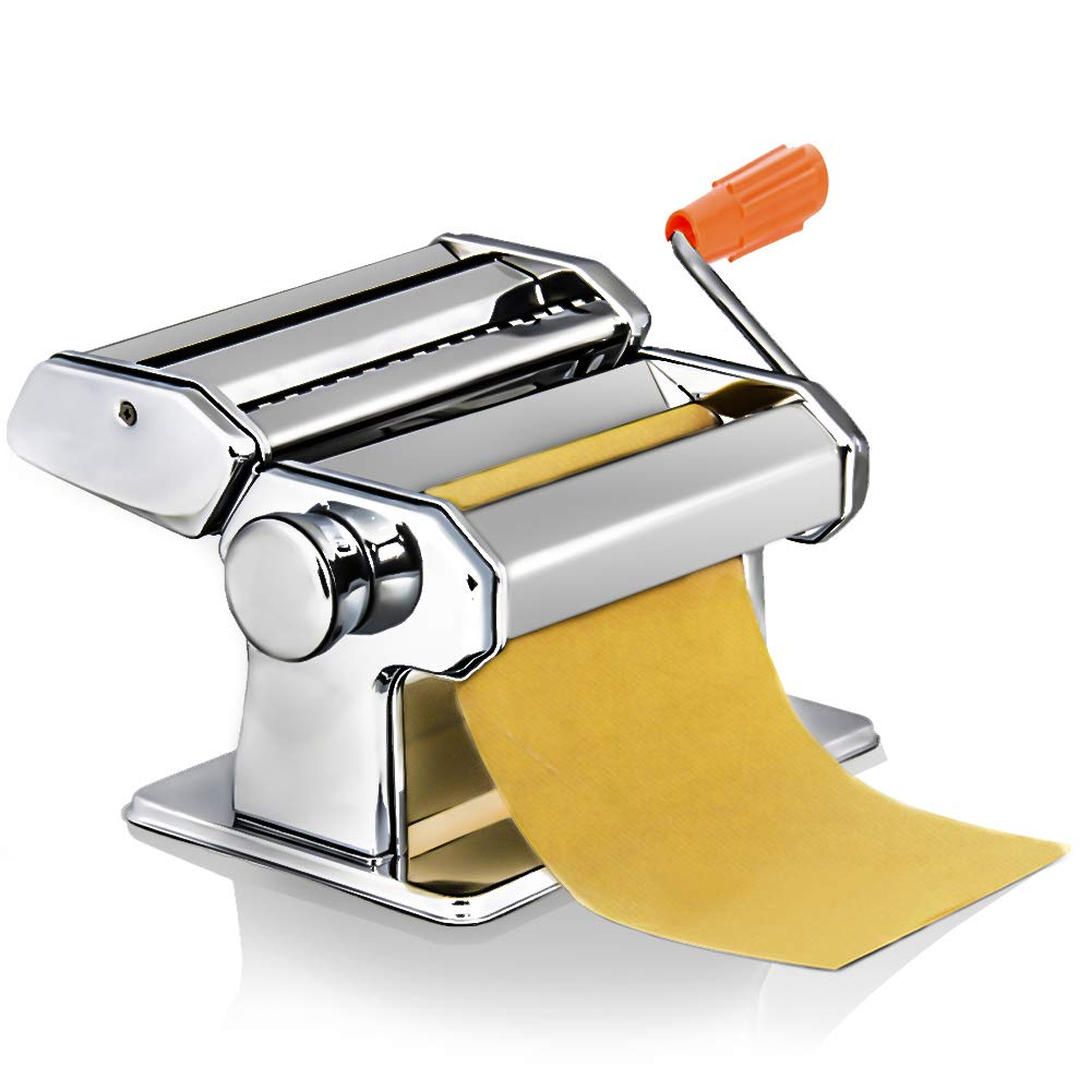 Homdox Pasta Maker Machine Noodle Makers Machine Cutter Stainless Steel Manual Fresh Pasta Making Machine,Pasta Dough Roller Hand Crank and Clamp for Spaghetti and Lasagna Tagliatelle(US Stock)