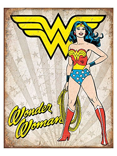 - Wonder Woman Heroic Tin Sign 13 x 16in