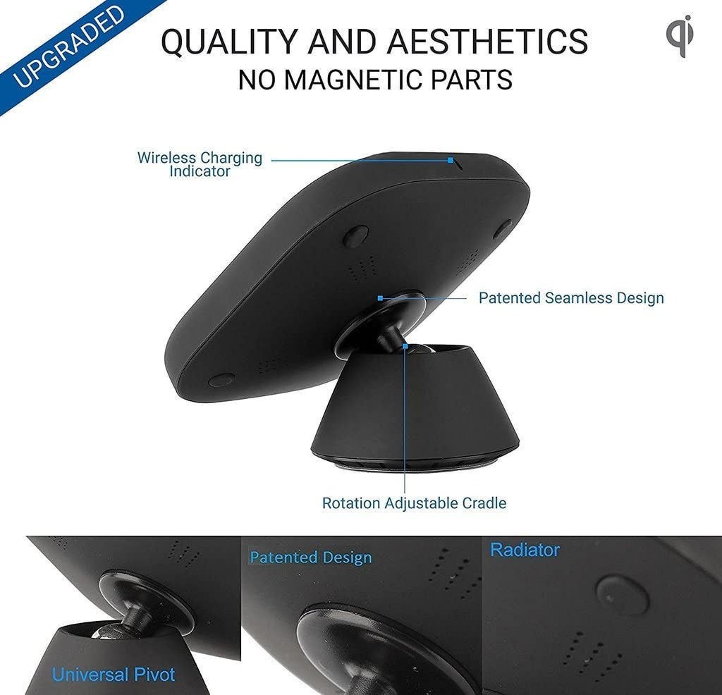 iPhone 11//XR//XS//8,Samsung S9//S8 2-in-1 Adjustable Cellphone Holder Wireless Charger Nucharger Snap200 360/° Rotatable Qi Car Charger for All QI-Enabled Devices w//Nanometer Suction