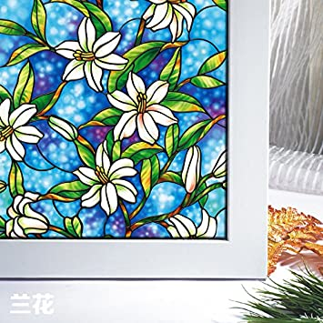 Amazon.com: Bloss Non Adhesive Static Cling Stained Glass Window ...