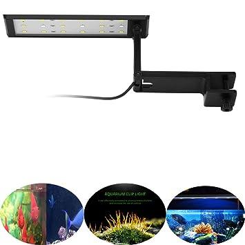 AOZBZ Luz de Acuario LED Luz de Clip de Acuario Luz Azul Brillante y luz Blanca para Tanque de Peces con Soporte Extensible: Amazon.es: Productos para ...