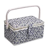 D&D Sewing Kit Basket, Sewing Box Organizer for Buttons, Thread, Scissors, Tape Measuring, Needle and other Sewing Accessories Storage