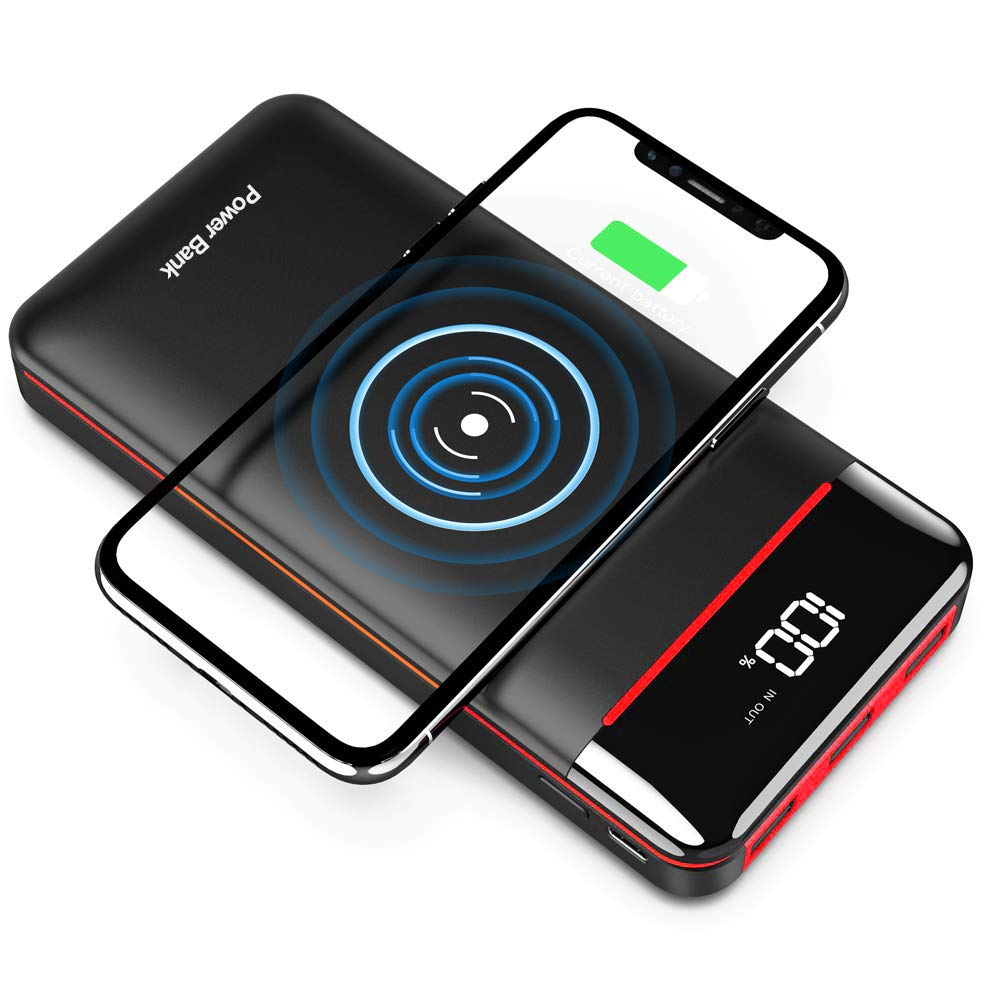 Wireless Portable Charger 25000mAh Power Bank with 3 Outputs& 2 Inputs Huge Capacity Backup Battery with LCD Display, Compatible with Smart Phones,Android Phone,Tablet and More