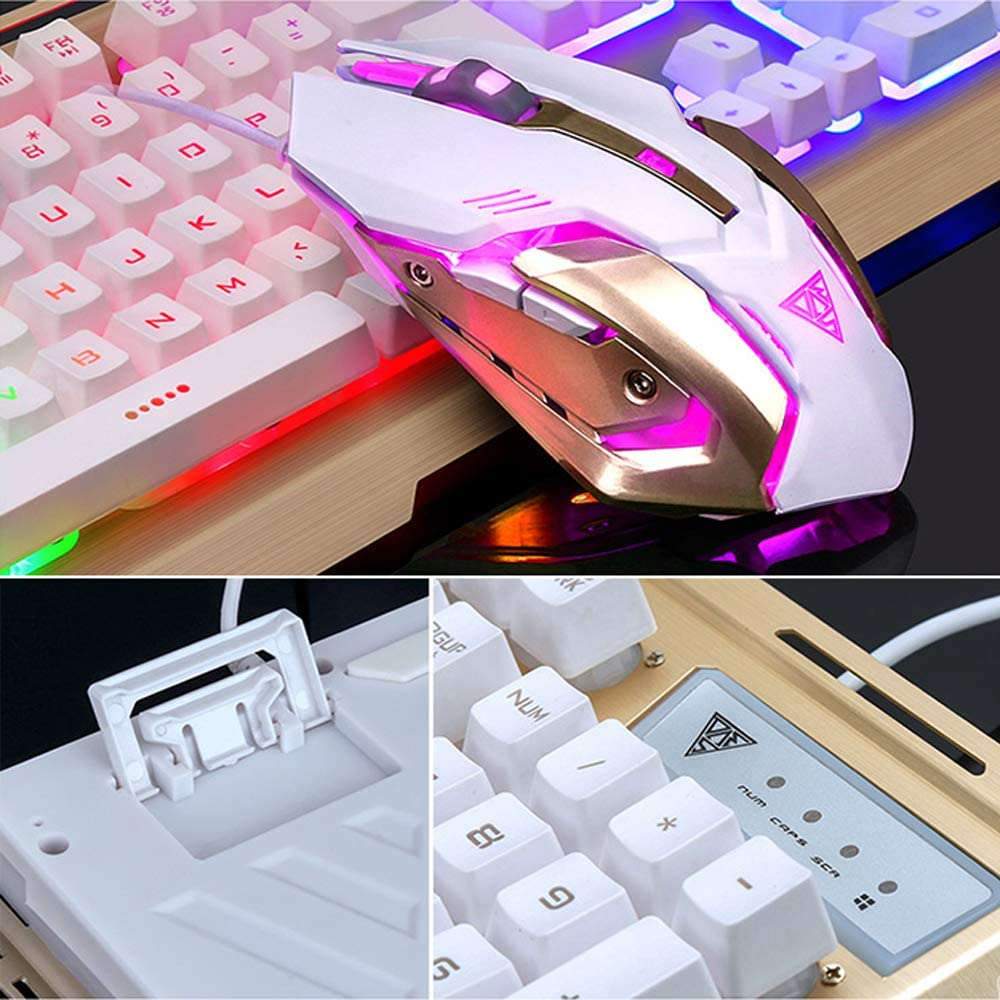 Gold UrChoiceLtd V1 Gaming Keyboard /& Mouse Combo Wired Rainbow LED Backlit Multimedia Ergonomic Usb Gaming Keyboard Metal Waterproof Mouse Pad Wired 3200DPI 6 Buttons Optical Usb Gaming Mouse