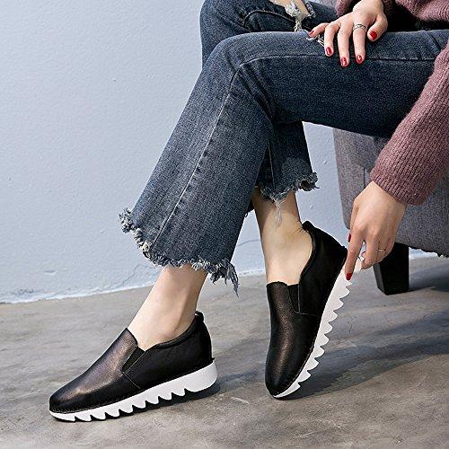 FUFU Damen Sneakers Frühling Sommer Herbst Winter PU Outdoor Athletic Casual Low Heel Weiß Schwarz 2,5cm Schwarz