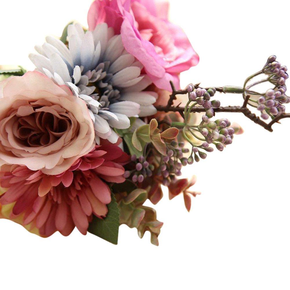 DICPOLIA 花嫁付添人ブーケ ウェディング造花 ローズブーケ フローラル ウェディング ブーケ パーティー ホームデコレーション 花束 Free Size ブラック B07GVH5DRC ピンク