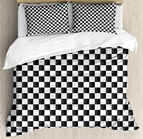 SIGOUYI Checkered Luxury Brushed Microfiber Duvet Cover Set, King - Ultra Soft 4 Piece Bedding Set, Machine Washable, Monochrome Composition with Classical Chessboard Inspired Abstract Tile Print