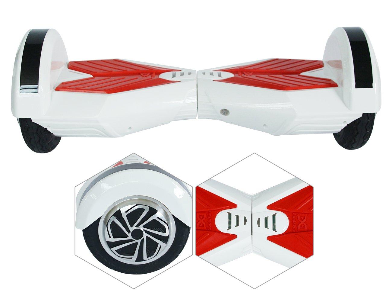 Cool&Fun Balance Board Patinete Eléctrico 2 Ruedas 8 Pulgada (Blanco Rojo) (Whiter)