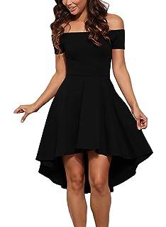 7179de727e6 GERMMI Damen Kleid Abendkleid Schulterfreies Cocktailkleid Jerseykleid  Skaterkleid Knielang Elegant Festlich Asymmetrisches Partykleid