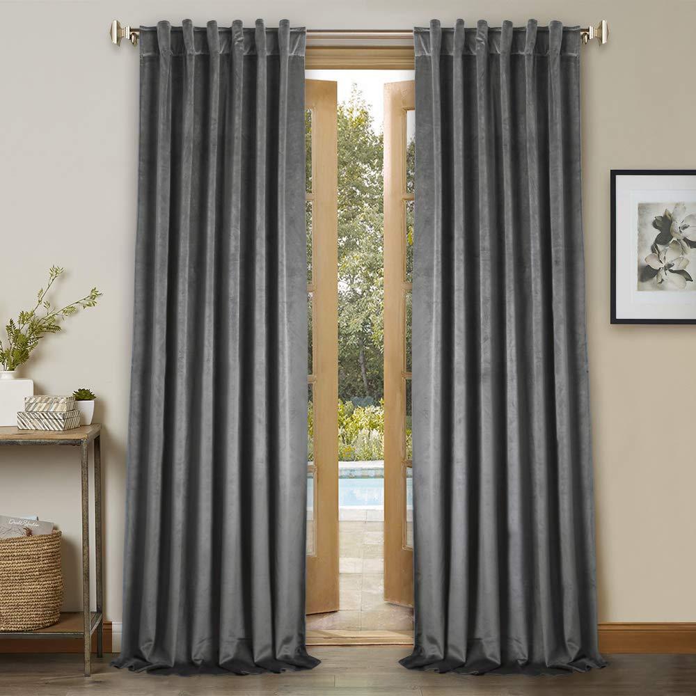 Amazoncom Grey Velvet Curtains 96 Inches Home Decor Luxury Heavy