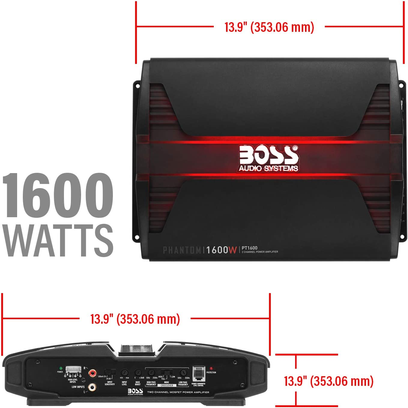 Class A//B Mosfet Power Supply 1000 Watts Bridgeable Full Range 2-8 Ohm Stable BOSS Audio Systems PT1000 2 Channel Car Amplifier