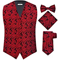 Verdamo Men's 4 Piece Paisley Vest Set, With Bow Tie, Neck Tie & Pocket Hankie