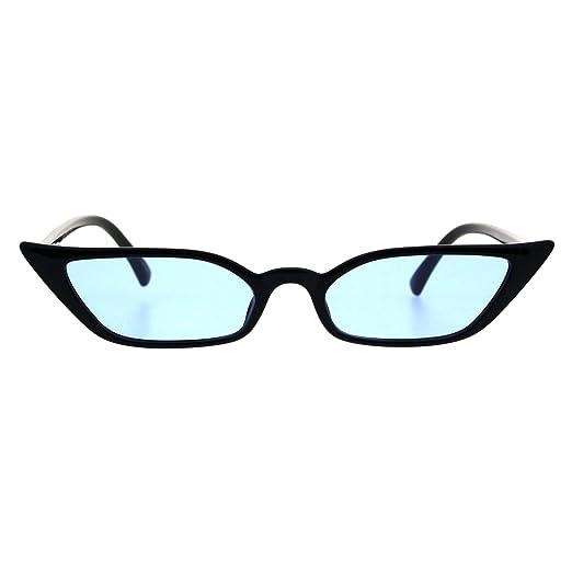 866598d2e3a6 Skinny Rectangular Cateye Sunglasses Womens Vintage Retro Shades Black, Blue