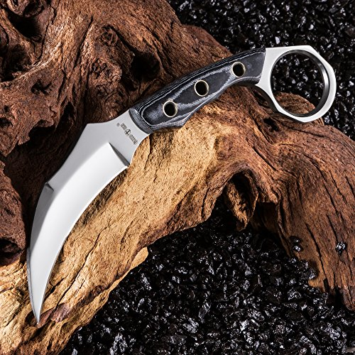 Fixed Blade Karambit Knife with Mikarta Handle Sickle Blade Best Fix for Survival Grand Way 2534 MP
