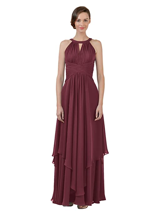 Jewel Chiffon Bridesmaid Long A-Line Party Prom Gown Evening Dress