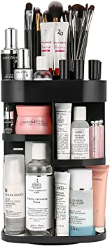 Jerrybox 360-Degree Rotating Makeup Organizer (Black or White)