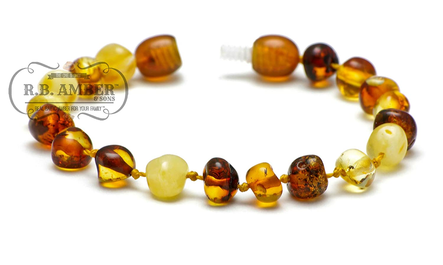 5.5 inches Certified Baltic Amber Childrens Bracelet Unpolished Honey