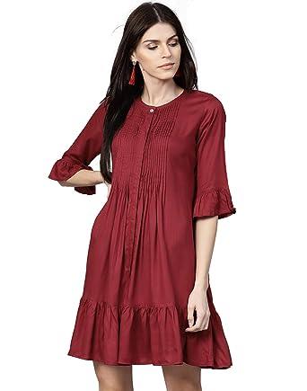 845b04532b03 Jaipur Kurti Women Maroon Solid A-Line Dobby Dress  Amazon.in ...
