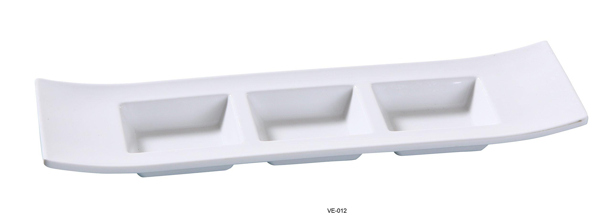 Yanco Venice Collection Melamine Italian Style Triple Divided Dish )11 1/2'' X 3 1/2'') 1.5 Oz Each BOX of 48
