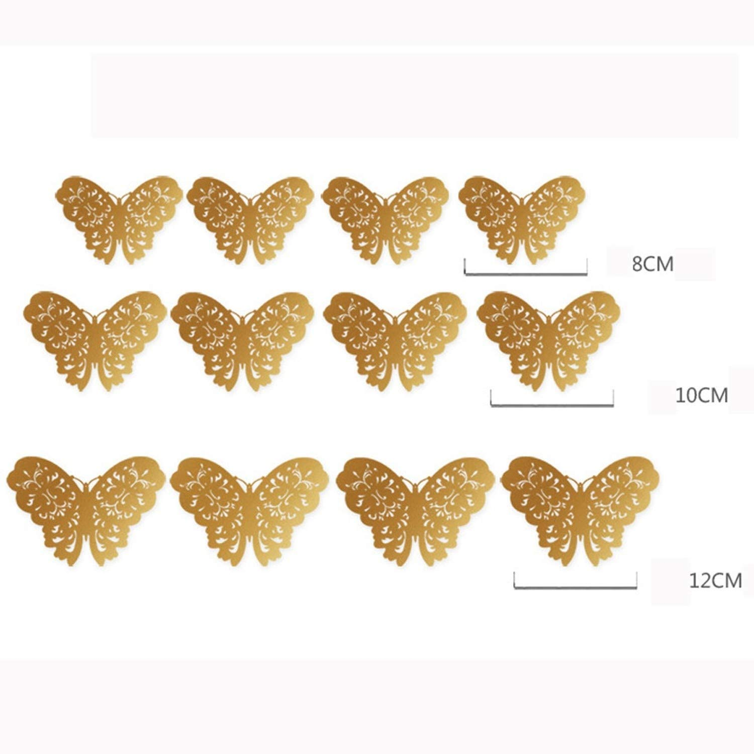 Amazon.com: Batop [12 Pcs/Set 3D Wall Stickers - Butterfly Hollow Paper 3 Sizes Silver Gold for Fridge Stickers - Home Party Wedding Decor (A): Home & ...