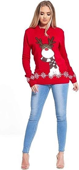 New Ladies Novelty Christmas Rudolph Reindeer Print Sweatshirt Jumpers 8-22