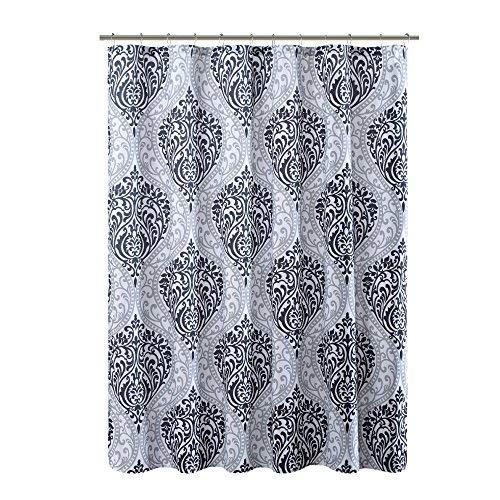 Comfort Spaces Coco Bathroom Shower Printed Damask Pattern Modern Cute Microfiber Fabric Bath Curtains, 72x72, Black ()