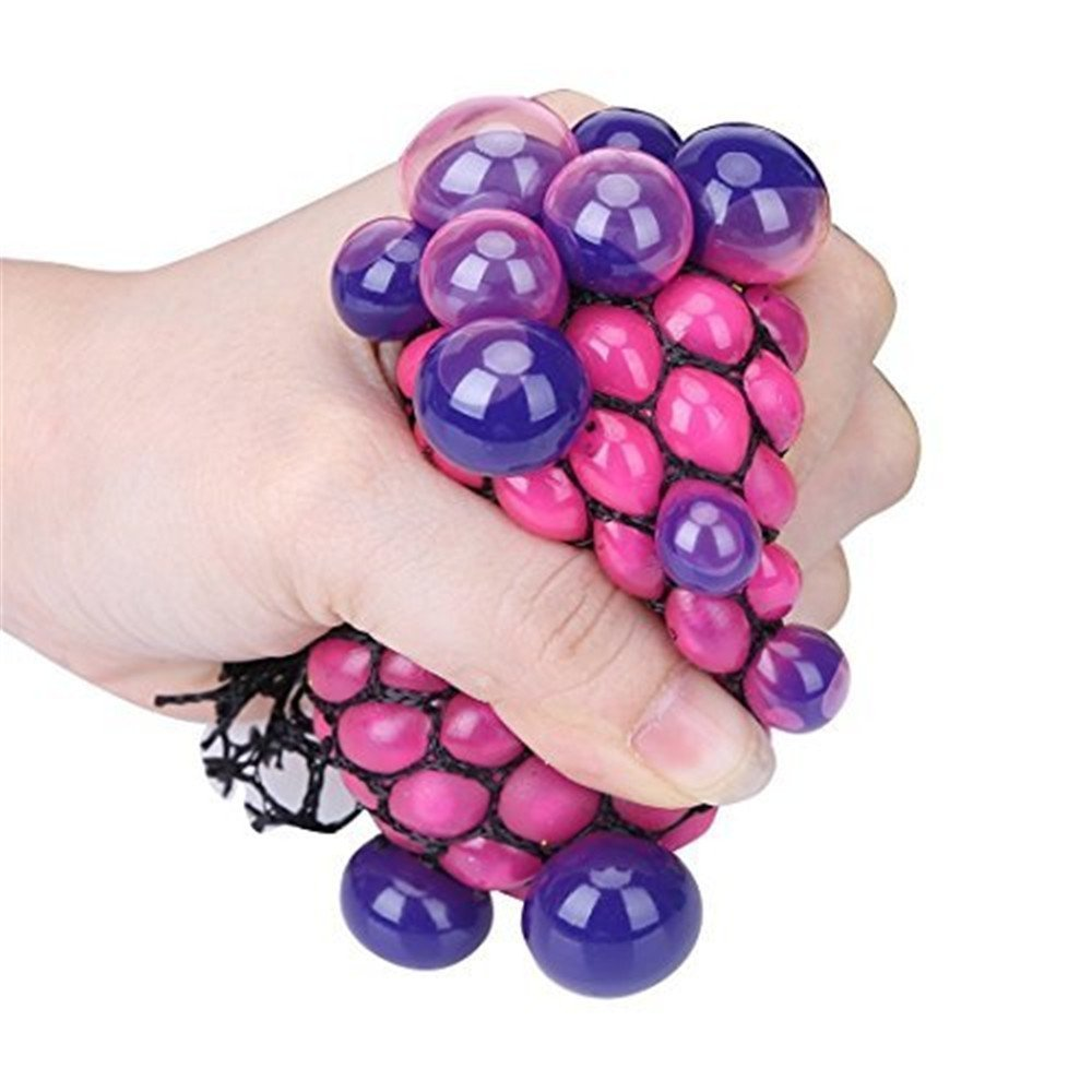 Stress Balls Funny Squishy Mesh Ball, Grape Shaped Squeeze Reliever Novelty Toy Magic Gift for Kids and Adults (Random Color, L)