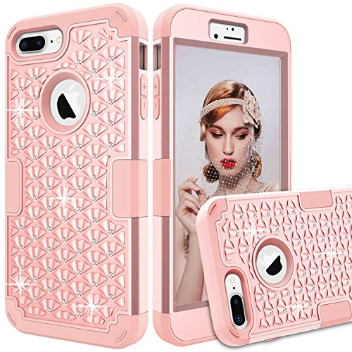 GreenElec iPhone 7 Plus Case - Diamond Studded Bling Rhinestone - Hybrid Heavy Duty Dual Layer Armor Defender Protective Rubber Case with Fit Perfect Shock Absorbing Scratch Proof