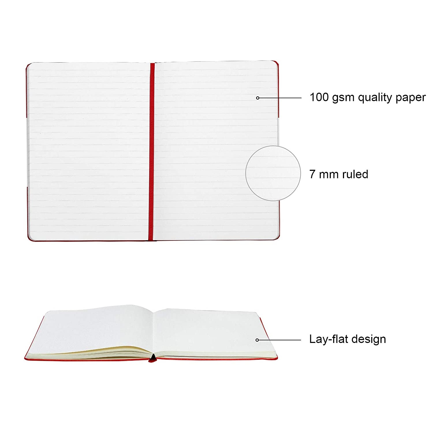 Medium 5.7 x 8 inches Hard Cover Paperage Journal Blank Page Notebook Black, Plain 100 gsm Thick Paper