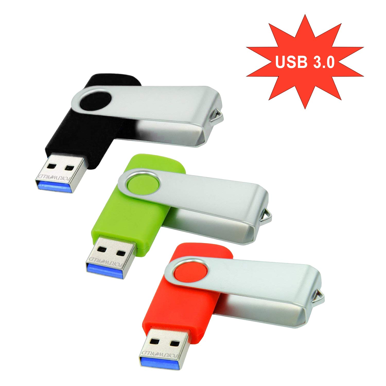 Pack de 3 Unidades de Memoria USB 3.0 de 32 GB con cordón para Pulgar (Verde y Rojo Negro)