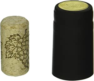 """Wine Bottling Pack - Includes 30 PVC Heat Shrink Capsules with Tear Tabs & 30#8 Straight Corks 7/8"""" x 1 3/4"""" (Black)"""