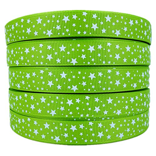 (50 Yards 5/8 Inch White Star Printed Apple Green Grosgrain Ribbon Hairbow Sewing Craft Supplies)