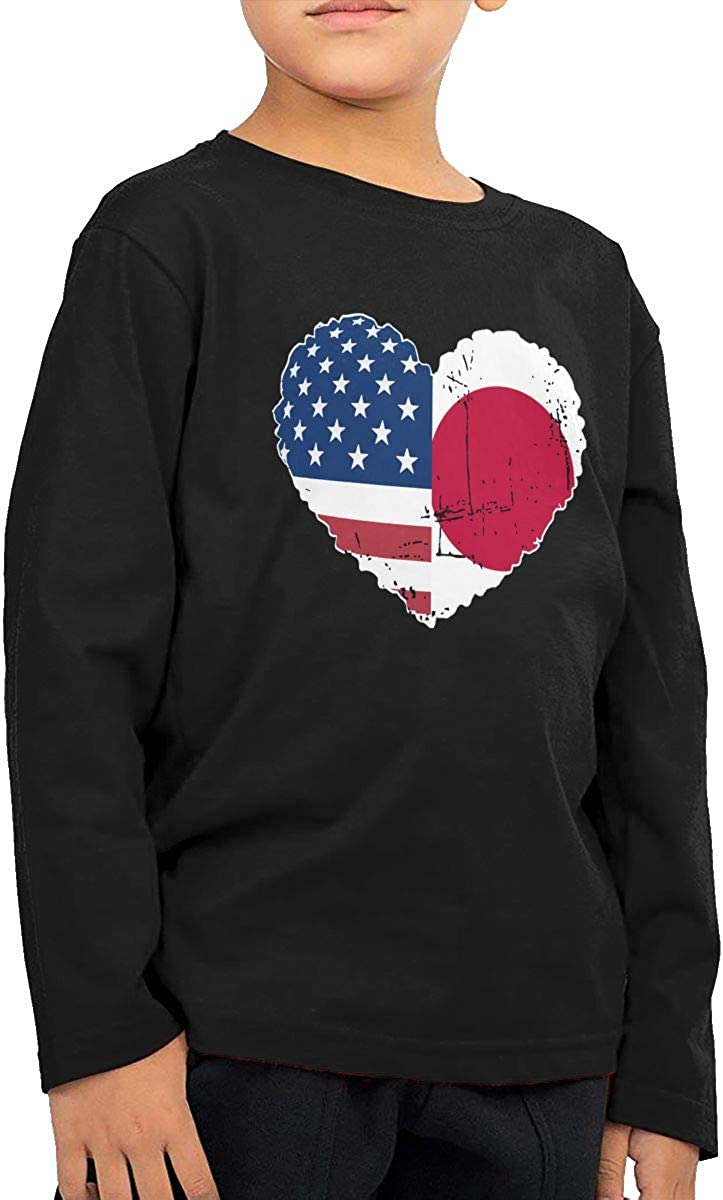 CERTONGCXTS Little Girls Japan USA Flag Heart ComfortSoft Long Sleeve Shirt