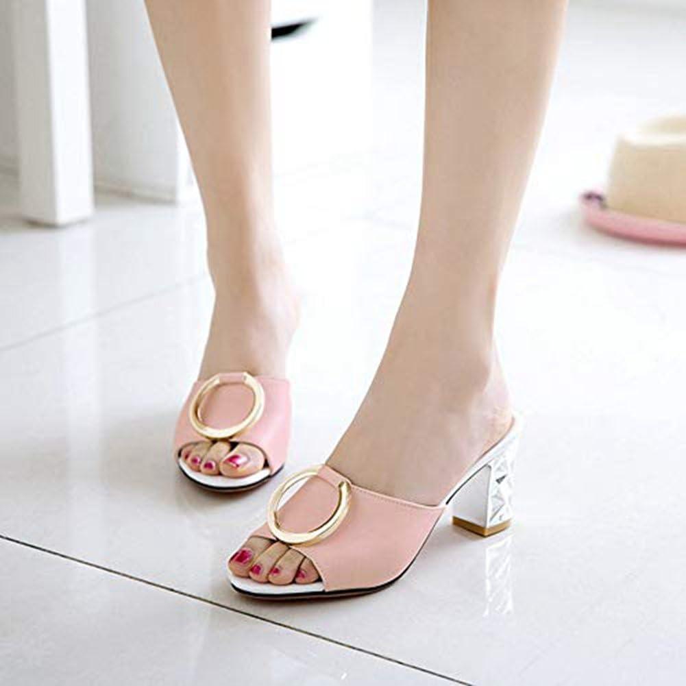 T-JULY Womens High Chunky Heeled Half Slide Sandals Peep Toe Slip on Slipper Metal Mules Pumps Dress Lazy Shoes