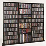 Leslie Dame CDV-1500BLK High Capacity Oak Veneer Multimedia Cabinet, Black