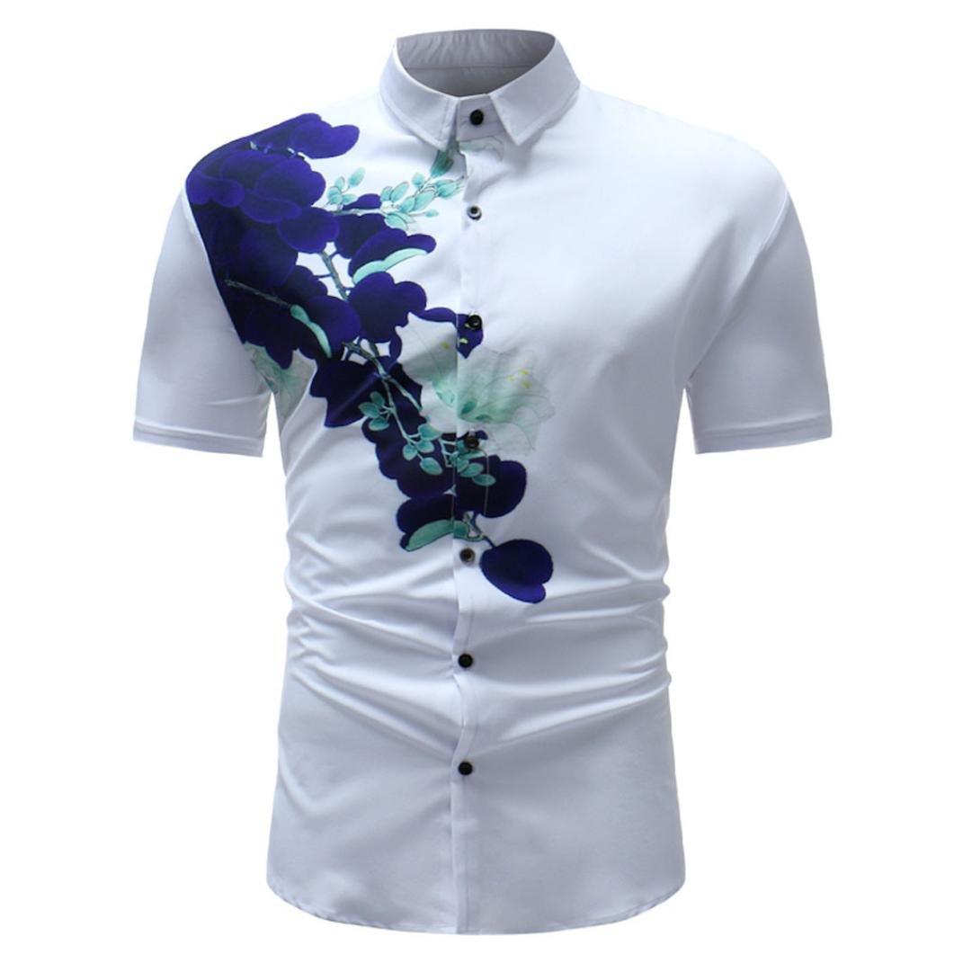 Longay Men's Buttons Floral Prints Shirt Slim Fit Short Sleeves Shirts Formal Top Blouse (XXL, White)