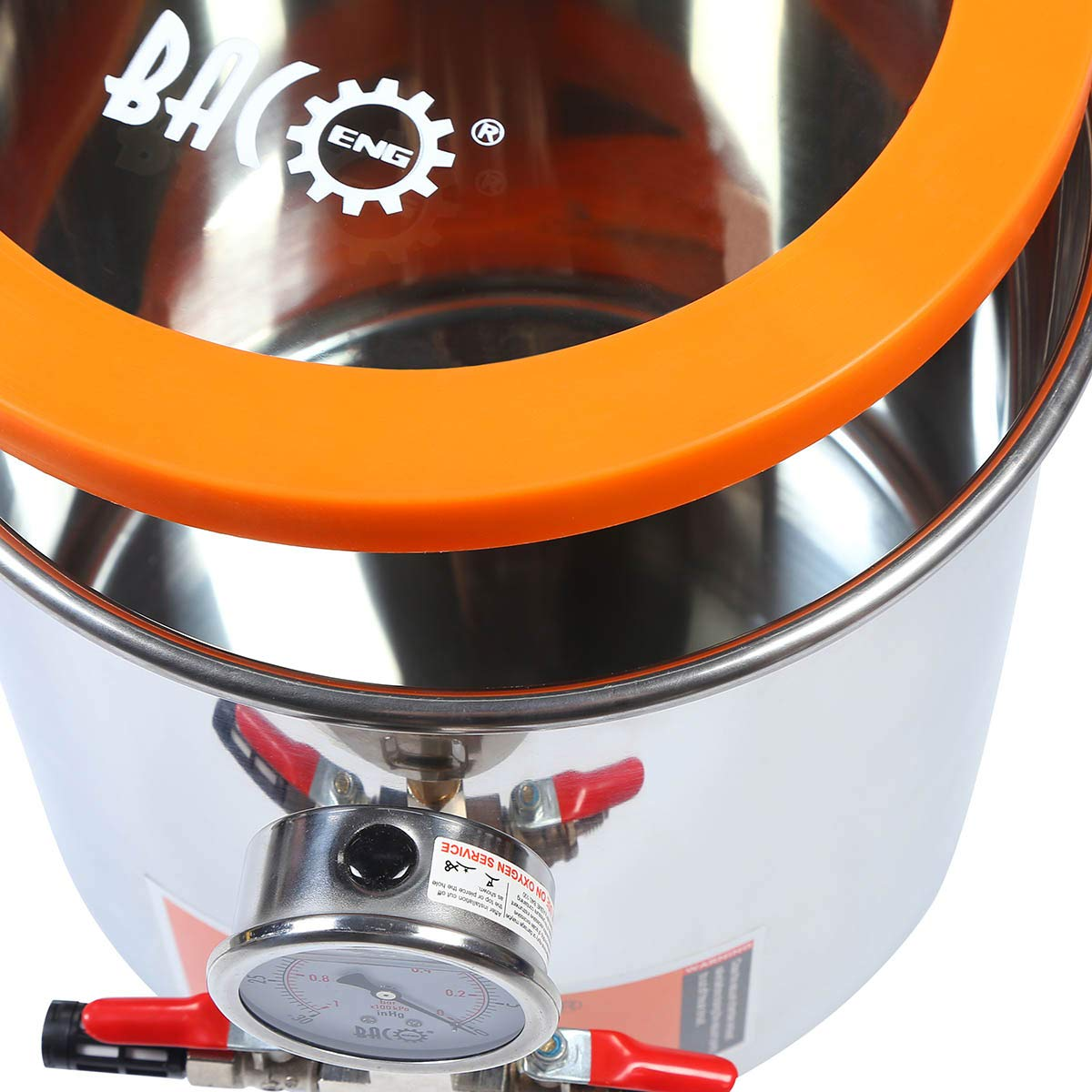BACOENG 3 Gallon Tempered Glass Lid Stainless Steel Vacuum Chamer Perfect for stabilizing Wood, Degassing Silicones, Epoxies and Essential Oils by BACOENG (Image #4)