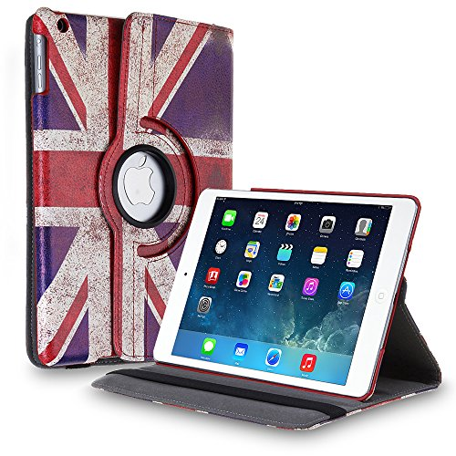 TNP iPad Mini Rotating Case (UK Flag) 360 Degree Stand Smart Cover Flip Protective PU Leather For iPad Mini 3, iPad Mini 2 & 1, Multi Viewing Angles, Auto Sleep - Stores Uk Tiffany