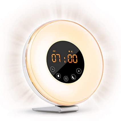 fb58f072f98 Sunrise Alarm Clock Wake Up Light FM Radio Clock Night Light for Heavy  Sleepers   Kids
