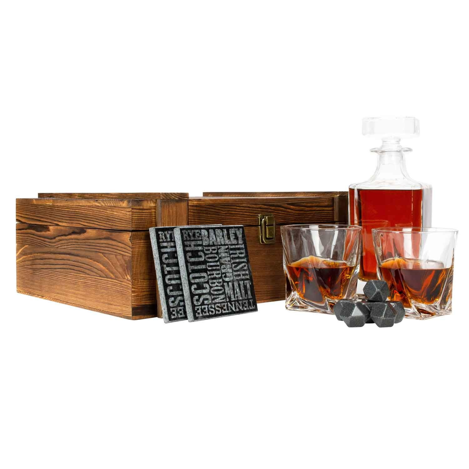 Atterstone Crate Whiskey Box Set with Premium Decanter and 2 Swirl Glasses, Includes 9 Chilling Stones and 2 Dark Stone Coasters, Encased in Polished Wood Box Great for Holiday and Wedding Gifts by Atterstone (Image #4)