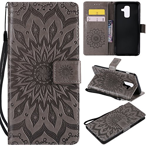 (Leather Wallet Case for Samsung Galaxy A6 2018 with Hand Strap,Gostyle Samsung Galaxy A6 2018 Flip Magnetic Closure Grey Case Embossed Sunflower Pattern,Bookstyle with Card Slots Stand Cover)