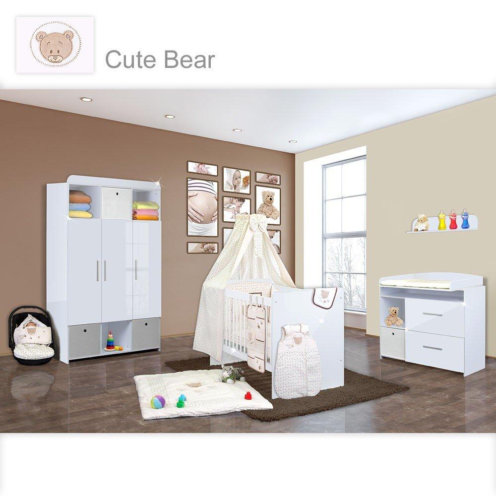 Babyzimmer Mexx in Weiss Hochglanz 20 tlg. mit 3 türigem Kl. + Cute Bear Beige