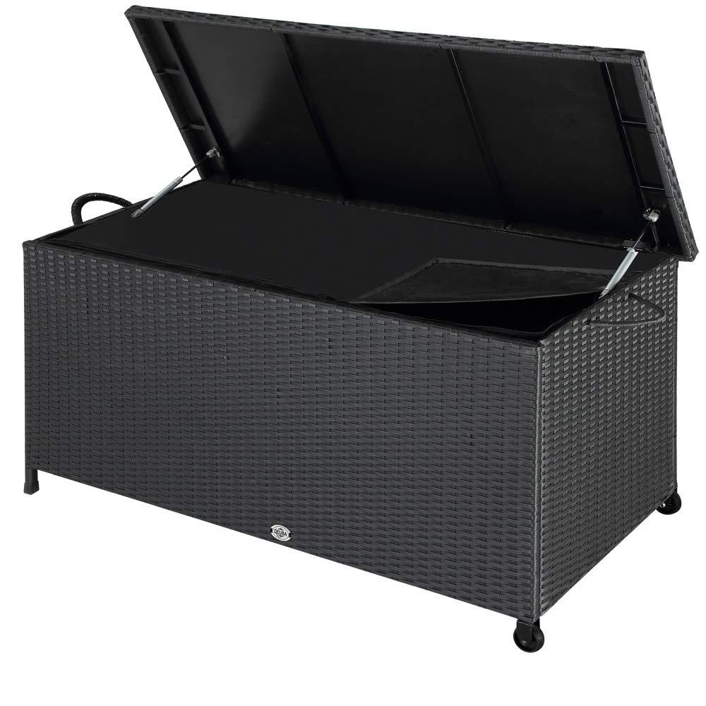 Deuba Auflagenbox   150x53x55 cm   Poly Rattan   Wasserdicht Rollbar 2 Gasdruckfedern Kissen Garten Box Truhe schwarz