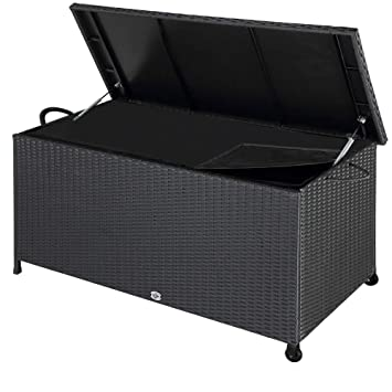 Poly Rattan Garden Storage Box Outdoor Cushion Deck Chest Black Patio 566l Container Terrace Furniture