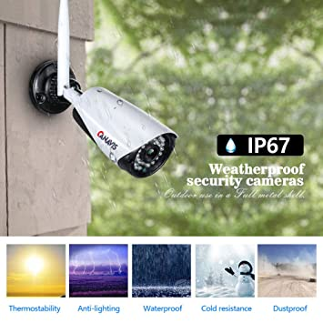 Amazon.com : Camera Security System 4CH 1080p Auto Pair WiFi Network Video Recorder 4pcs FHD 2.0MP Outdoor Weatherproof Night Vision Wireless IP Camera ...