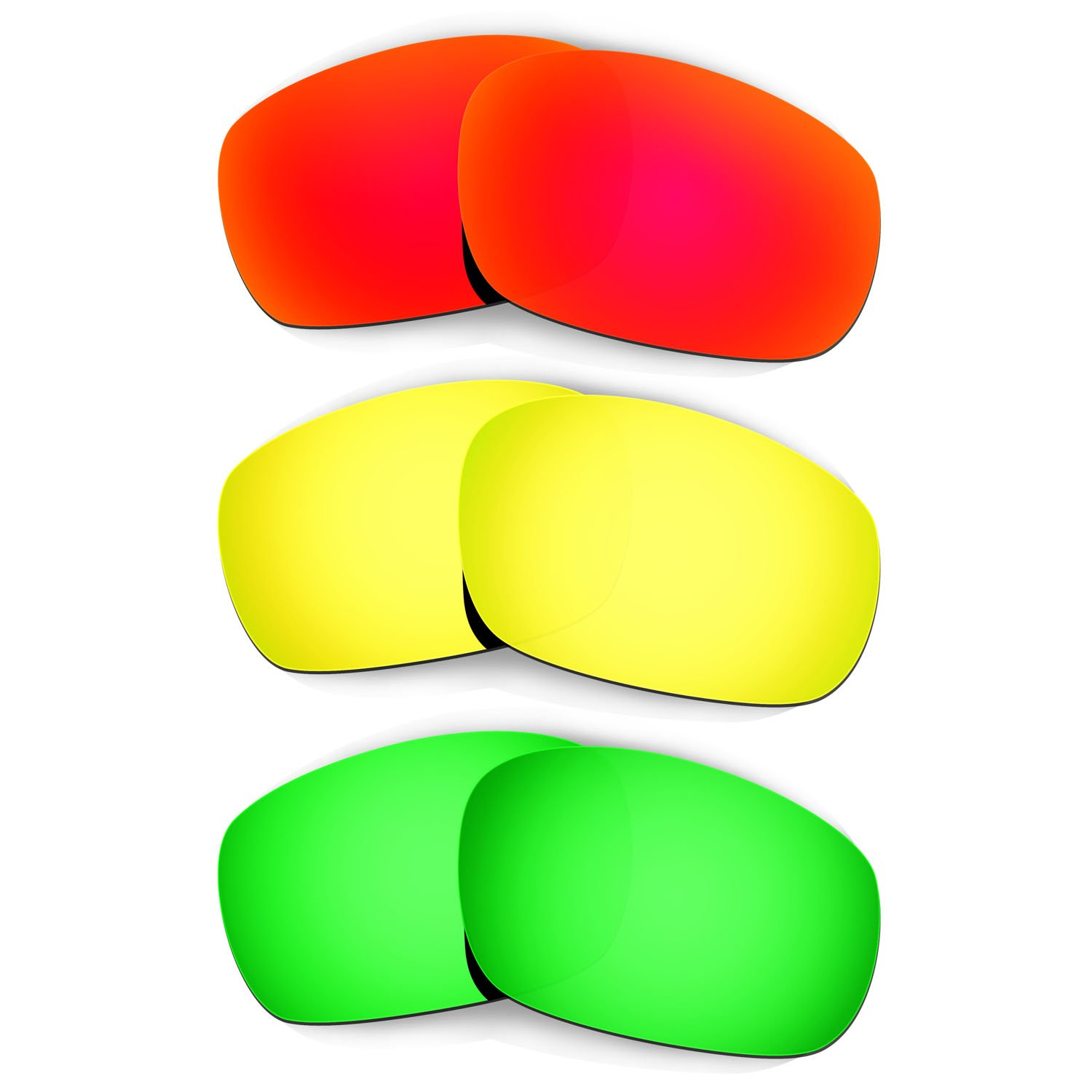 Hkuco Plus Mens Replacement Lenses For Oakley Jawbone Red/24K Gold/Emerald Green Sunglasses