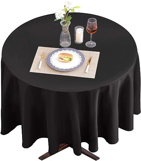 3 x Round Tablecloth Polyester Table Cloth White Cream Black Bordo 180 220 300 cm