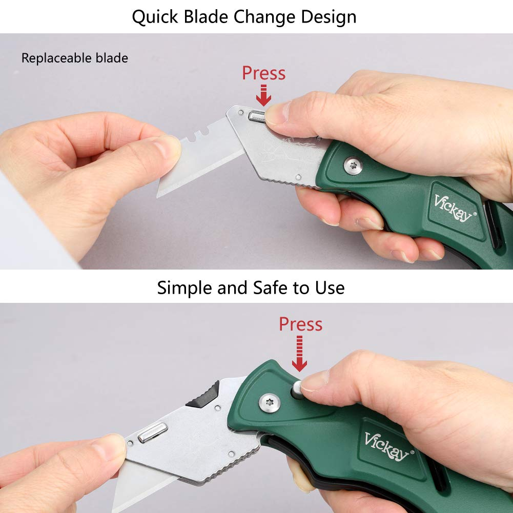 Folding Pocket Utility Knife - Quick Change SK5 Blades, Heavy Duty Box Cutter with Blades Compartment,Wires Stripping, 5 Positions Safe-Lock Design for Office, Home, Arts Crafts (Green)